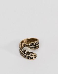 Золотистое кольцо с пером ASOS DESIGN - Золотой