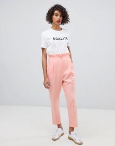 Льняные брюки с оборкой на талии ASOS DESIGN - Розовый