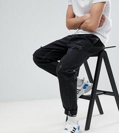 Черные выбеленные джинсы с плиссировкой и рваной отделкой ASOS DESIGN Tall - Черный