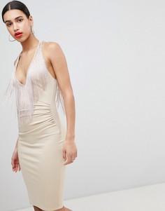Платье миди с кисточками Flounce London - Розовый