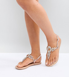 Декорированные кожаные сандалии для широкой стопы ASOS FAIRLIGHT - Золотой