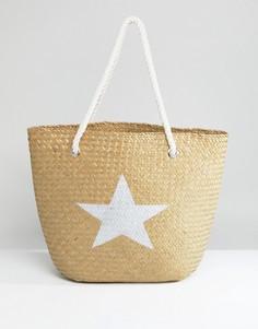 Пляжная соломенная сумка с серебристой звездой South Beach - Мульти