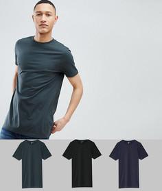 3 длинные футболки с круглым вырезом ASOS DESIGN - Мульти