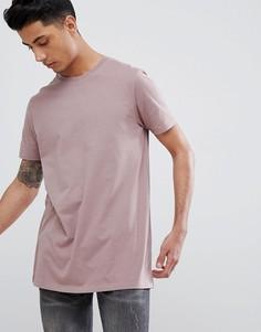 Удлиненная футболка с круглым вырезом ASOS DESIGN - Коричневый