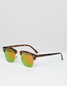 Черепаховые солнцезащитные очки со светоотражающими стеклами Jack & Jones - Коричневый