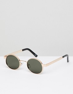 Золотистые овальные солнцезащитные очки с черными стеклами ASOS DESIGN - Золотой