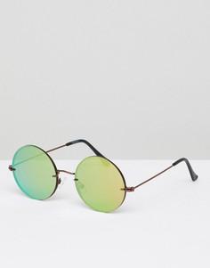 Круглые солнцезащитные очки с накладными стеклами ASOS DESIGN - Медный