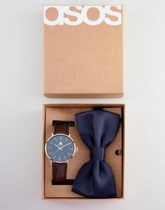 Набор с часами и галстуком-бабочкой ASOS DESIGN - Коричневый