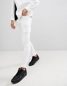 Супероблегающие белые джинсы с карманами карго ASOS DESIGN - Белый