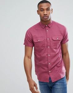Рубашка с короткими рукавами и двумя карманами Jack & Jones Premium - Розовый