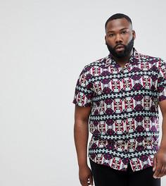 Рубашка с короткими рукавами и принтом Only & Sons PLUS - Темно-синий