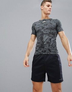 Спортивная бесшовная футболка с принтом FIRST - Черный