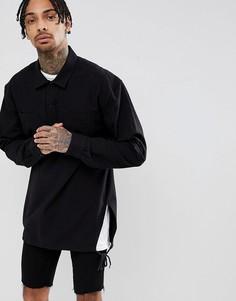 Рубашка без застежки с разрезами по бокам ASOS DESIGN - Черный