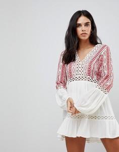 Платье с длинными рукавами и вышивкой Hazel - Белый