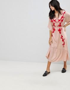 Платье макси с вышивкой Hazel - Розовый
