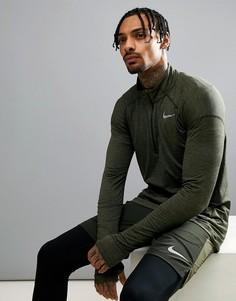Свитшот цвета хаки с короткой молнией Nike Running Dry Element 857820-355 - Зеленый