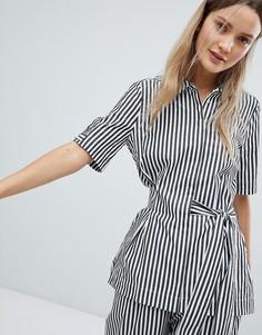 Блузка в полоску с завязывающейся отделкой In Wear - Черный