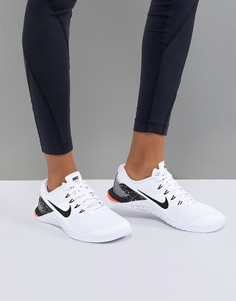 Белые кроссовки с красными вставками Nike Training Metcon - Белый