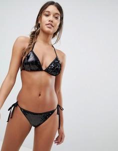 Купальник бикини с треугольными чашечками и пайетками South Beach - Черный