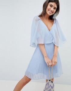 Платье мини с плиссированной юбкой и расклешенными рукавами ASOS DESIGN - Мульти