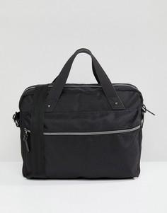 Черный фактурный портфель с отделением для ноутбука и заклепками ASOS DESIGN - Черный