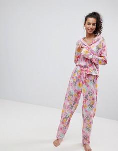 Пижамный комплект с рубашкой и брюками из 100% модала с цветочным принтом ASOS - Мульти