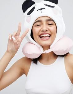Розовая дорожная подушка для шеи с капюшоном Typo - Мульти