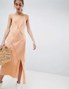 Платье из 100% шелка с необработанными краями ASOS WHITE - Розовый