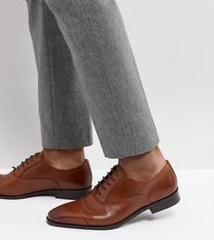 Светло-коричневые кожаные дерби для широкой стопы со вставкой на носке Dune - Рыжий