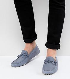 Синие замшевые мокасины для широкой стопы с завязкой спереди ASOS DESIGN - Синий