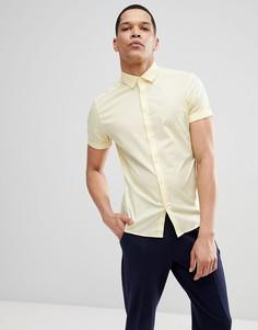 Желтая облегающая рубашка с короткими рукавами ASOS DESIGN - Желтый
