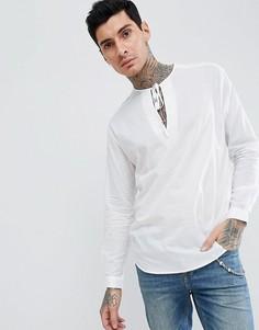 Оверсайз-рубашка с V-образным вырезом и завязкой ASOS DESIGN - Белый