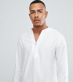 Белая удлиненная рубашка классического кроя с V-образным вырезом ASOS DESIGN Tall - Белый