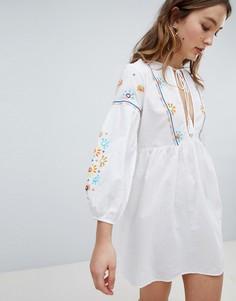 Пляжное платье с вышивкой Influence - Белый