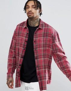 Oversize-рубашка в клетку с эффектом кислотной стирки ASOS DESIGN - Красный