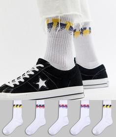 Набор из 5 пар носков в стиле ретро с полосками ASOS DESIGN - Белый