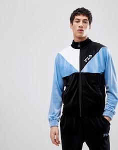 Темно-синяя спортивная куртка из велюра Fila Black Line - Черный