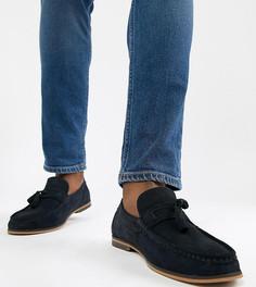 Темно-синие замшевые лоферы для широкой стопы с кисточками и натуральной подошвой ASOS DESIGN - Темно-синий