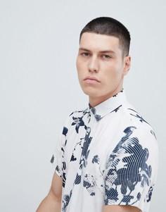 Рубашка с короткими рукавами из вискозы со сплошным принтом Selected Homme - Белый