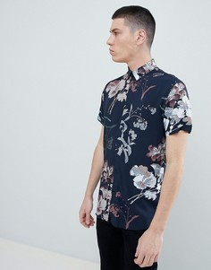 Рубашка с короткими рукавами из вискозы со сплошным принтом Selected Homme - Темно-синий