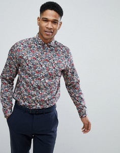 Зауженная рубашка с принтом Selected Homme - Темно-синий