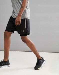 Черные шорты 2-в-1 длиной 7 дюймов 51626501 Puma Running Power Run - Черный