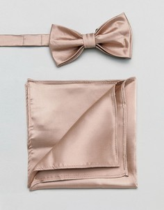 Розовый атласный галстук-бабочка и платок для пиджака Devils Advocate - Розовый