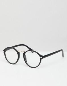 Черные круглые очки с прозрачными стеклами ASOS DESIGN - Черный