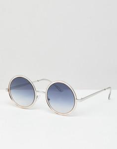 Круглые солнцезащитные очки с синими стеклами ASOS DESIGN - Серебряный