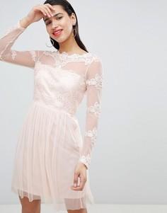 Сетчатое платье с кружевными вставками Vila - Розовый