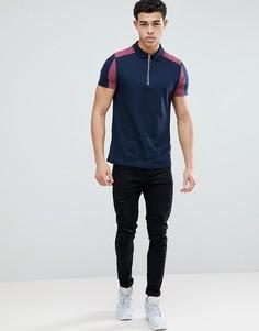 Темно-синяя футболка-поло колор блок с молнией ASOS DESIGN - Темно-синий