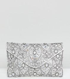Клатч-конверт с отделкой бисером True Decadence - Серебряный