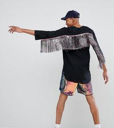 Удлиненная рубашка классического кроя с бахромой ASOS DESIGN Tall - Черный