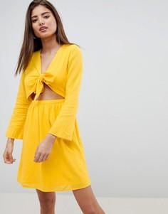 Платье мини с вырезами Noisy May - Желтый